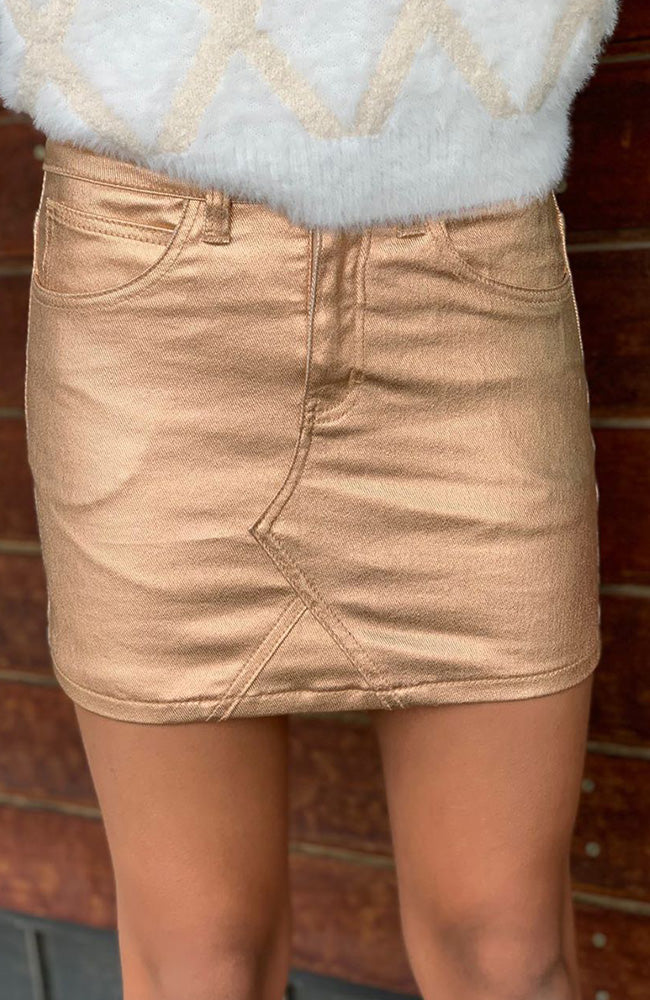enya rose gold foil mini skirt