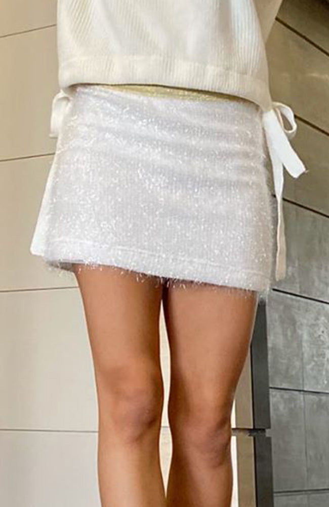 leonie white shimmer knit mini skirt