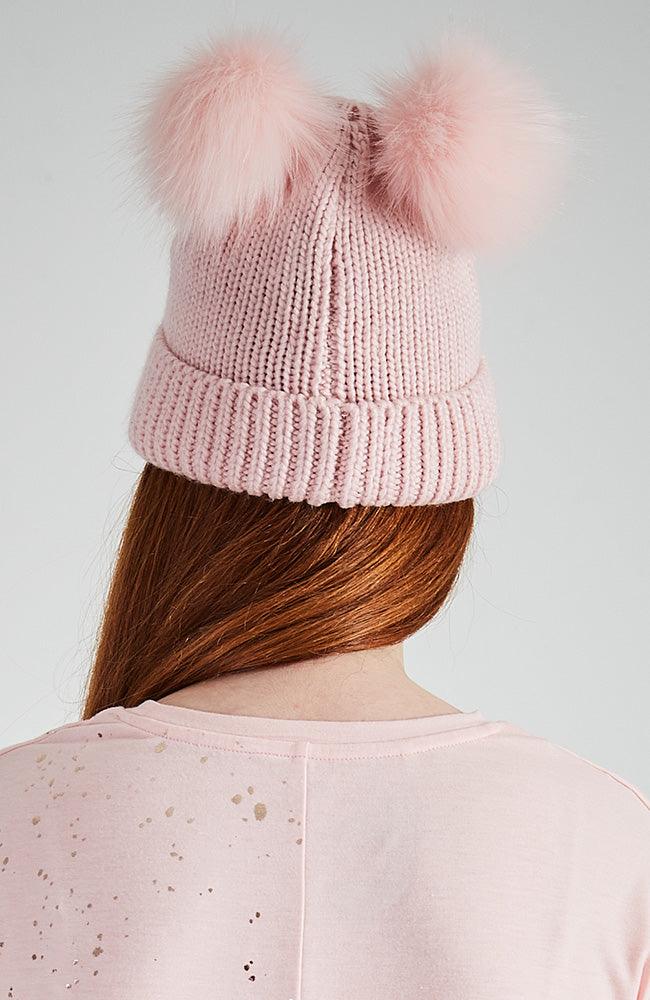 Team Unicorn Vegan Fur Pom Pom Beanie - Pale Pink