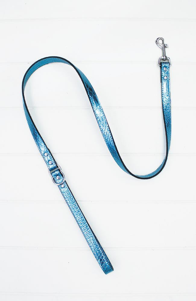 blue metallic crocodile vegan leather fashion dog lead