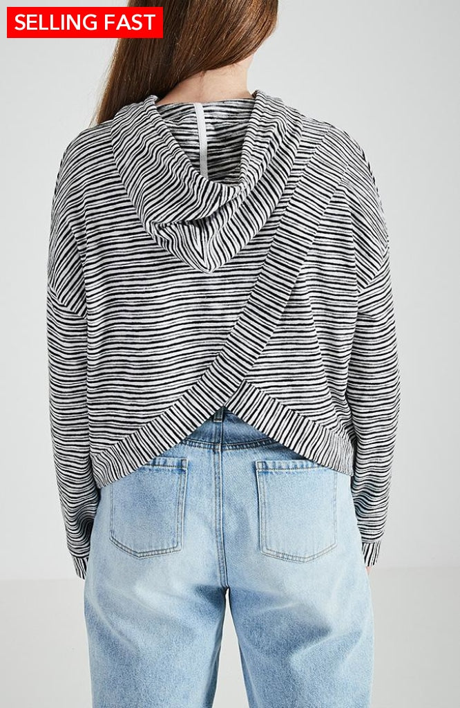 Camilla Black And White Striped Boho Cropped Girls Hoodie Tops