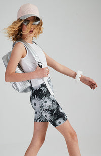 daisy black and white floral active bike short