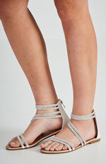 diamante crystal embellished metallic vegan leather party sandals