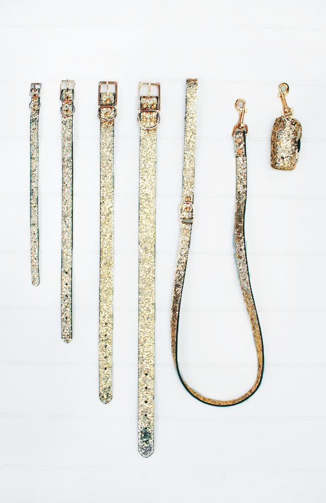 gold glitter vegan leather fashion dog lead