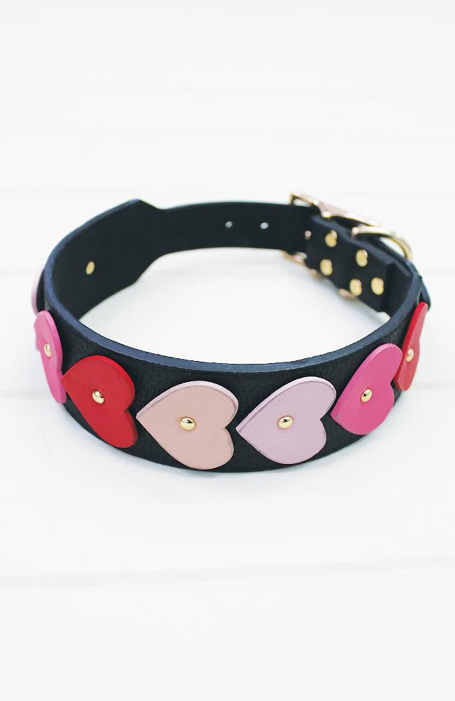 ombre pink hearts black vegan leather fashion dog collar