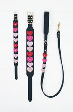ombre pink hearts black vegan leather fashion dog lead