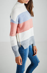 kaelyn striped high neck high low girls knit top
