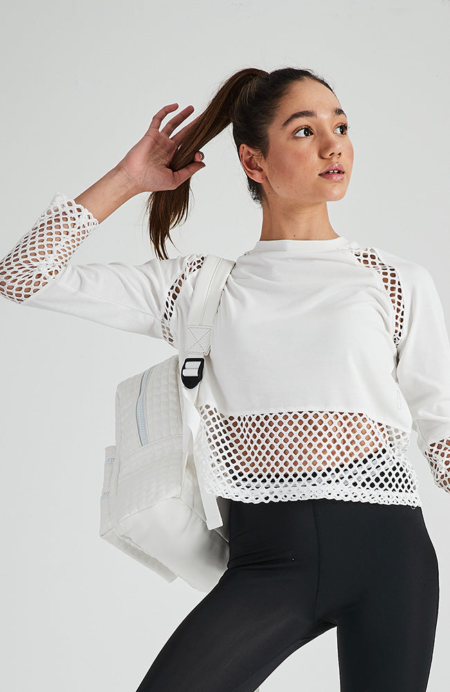 marcelle white open mesh long sleeve crop active sweat top