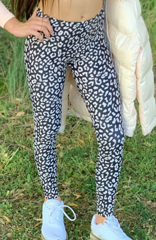 Noella Leopard Animal Print Stretch Leggings - Black & Cream