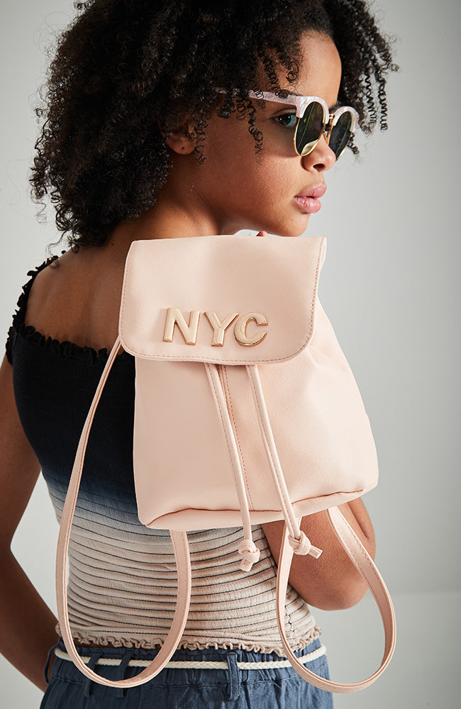 nyc metallic vegan leather mini flap backpack