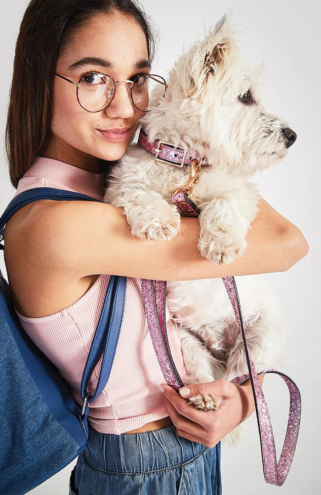 pink glitter vegan leather fashion dog lead