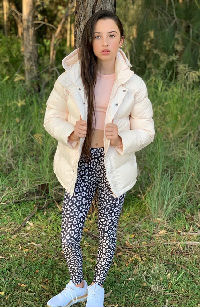 Puff Sister Super Soft Girls Hooded Puffer Jacket Coat - Cream
