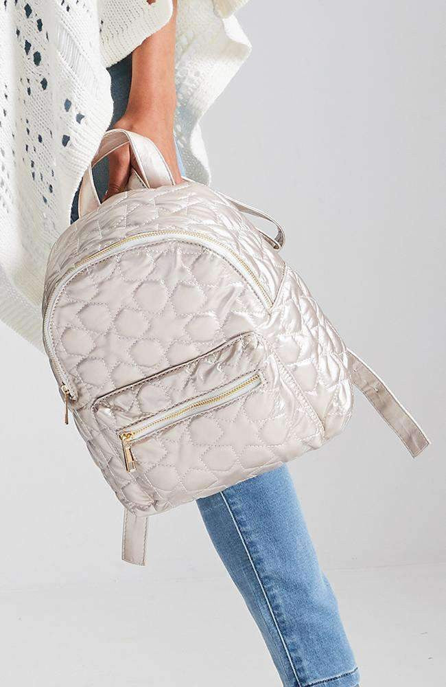 quilted stars metallic gold vegan leather backpack