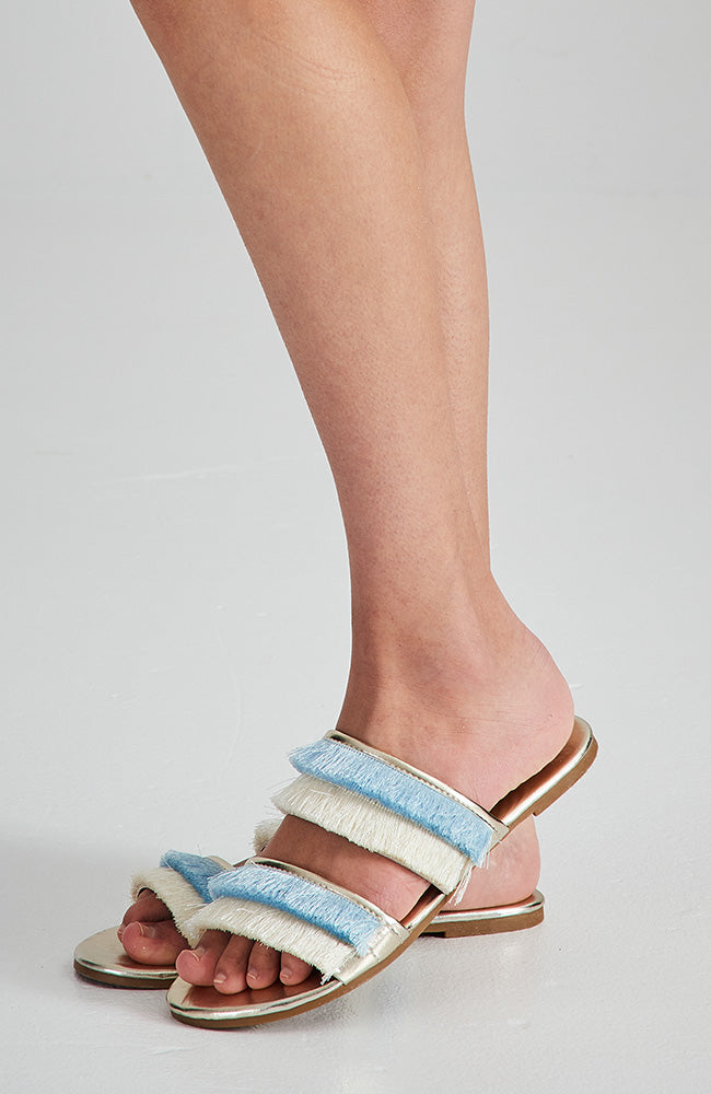 santa monica pastel fringe boho party slide sandals