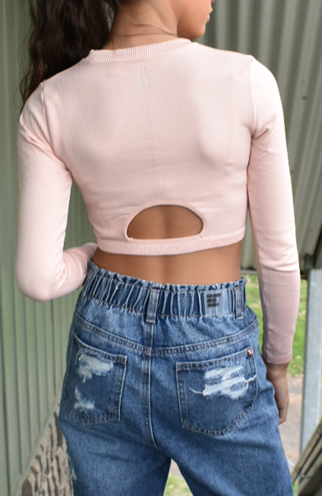 Sidara Ribbed Stretch Long Sleeve Crop Top  - Pink