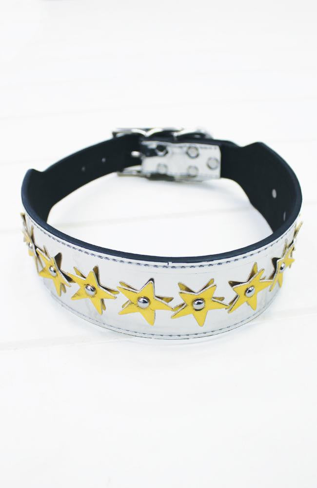 Silver Metallic Stars Vegan Leather Fashion Dog Collar