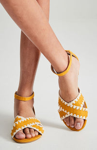 sunset embroidered vegan leather boho casual sandals