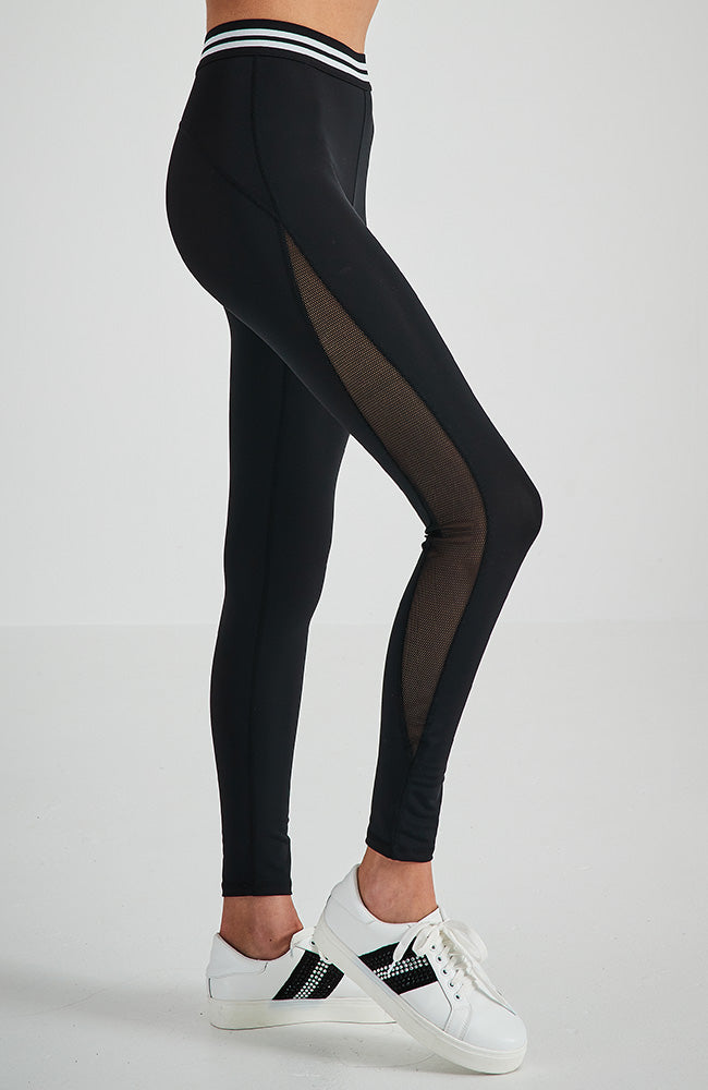 tam black mesh insert striped waistband active legging