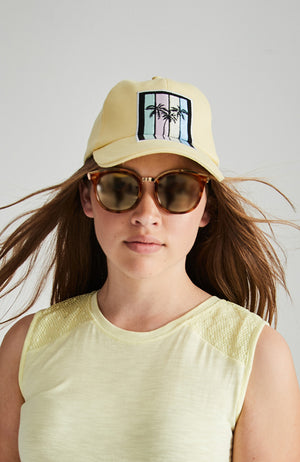 embroidered palm tree striped yellow baseball cap