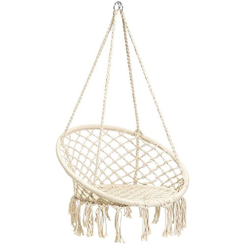 GREARDEN Hammock Chair Handwoven Cotton Rope Macrame Rope Hammock Lounge Swing Chair Fringe Tassels 265lbs Capacity Perfect for Indoor Outdoor Home Patio Deck Yard Garden Baby Room Decoration