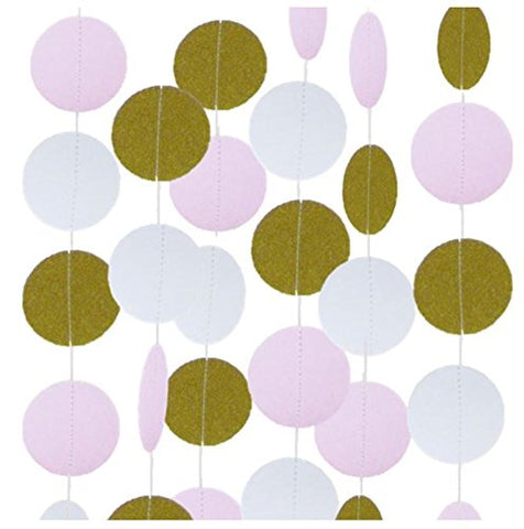 Gold/Pink/White Glittery Circle Dot Garland