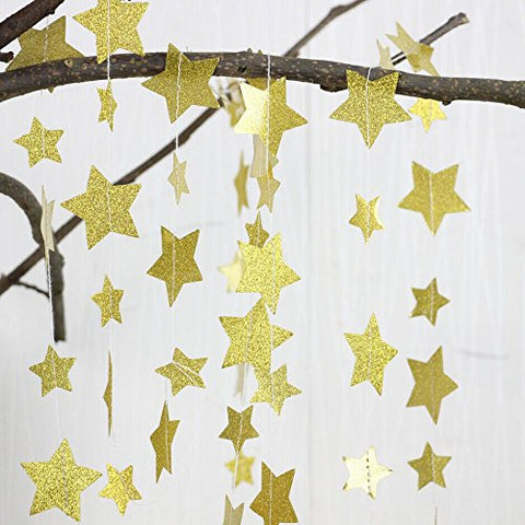 Gold Glittery Star Garland