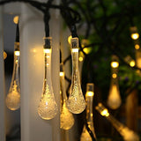 Solar LED Water Drop String Lights 19'