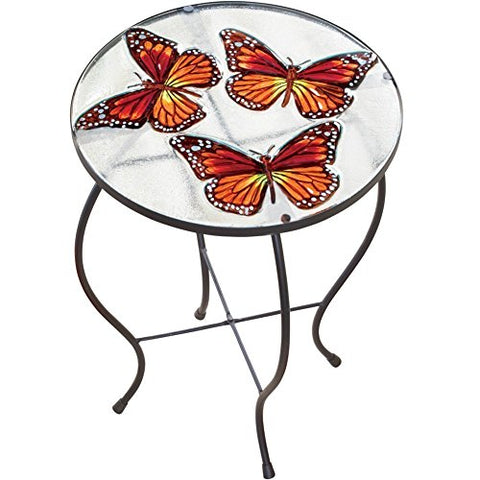 Round Glass Table With 3 D Butterflies