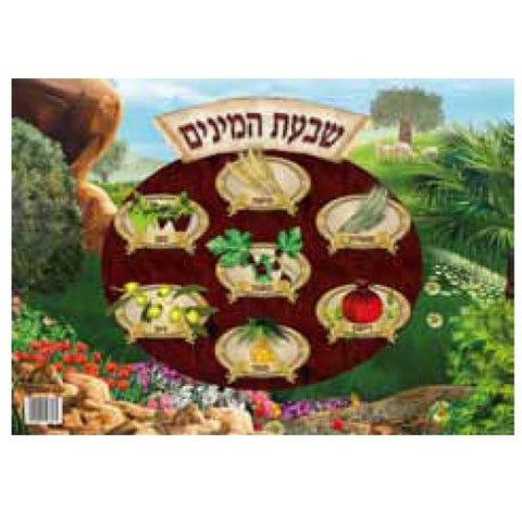 Shivas Haminim (Seven Species) Laminated Sukkah Poster