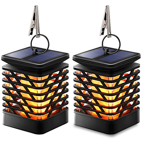 Dancing Flame Outdoor Hanging Lanterns, Solar Powered, Waterproof, Auto Sensor