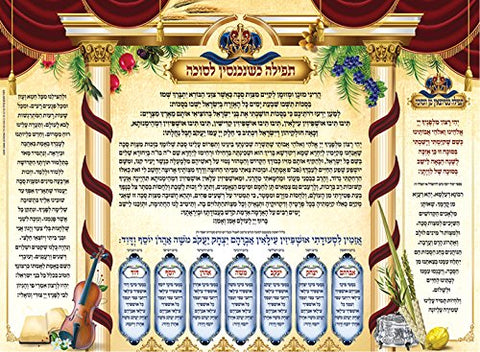 Tefilah Upon Entering The Sukkah & Ushpizin Laminated Sukkah Poster