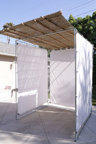 Snap Button Sukkah Kit put together easily without any tools.