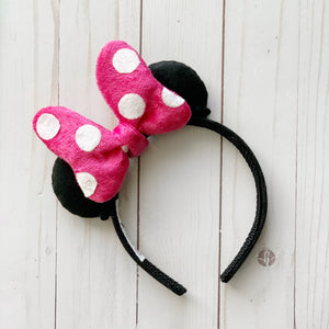 Plush PINK DOT Minnie Bow MINI Handmade Ears