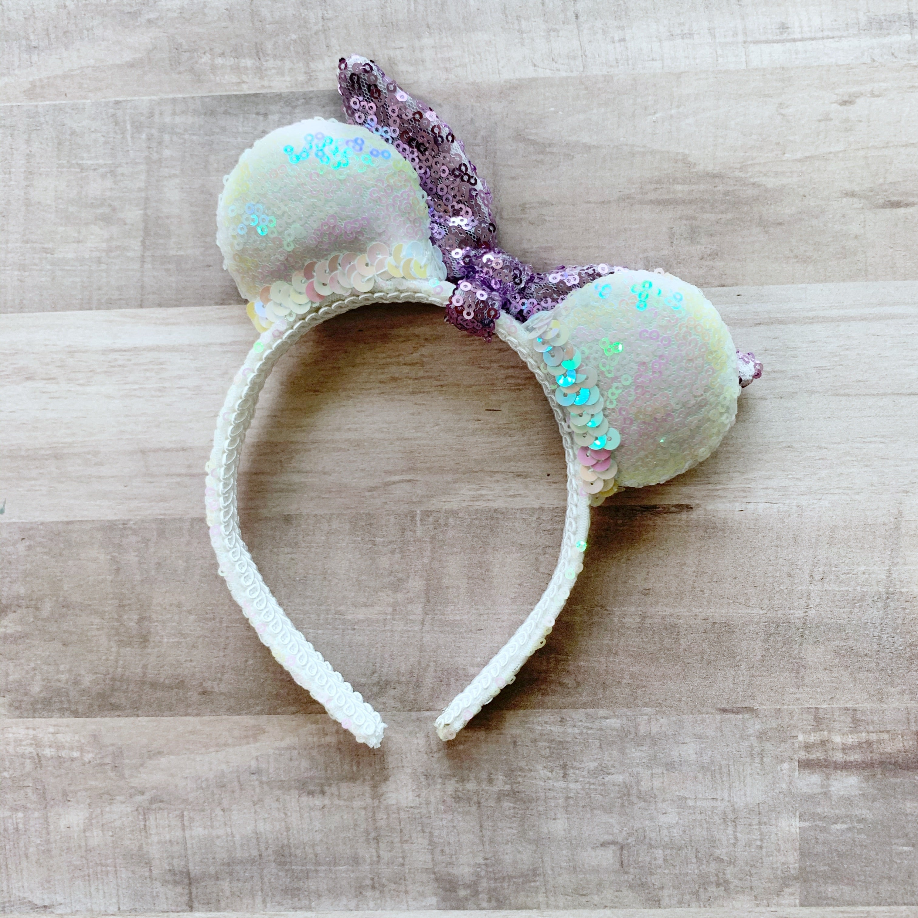Sequin White & Purple Tie MINI Handmade Ears