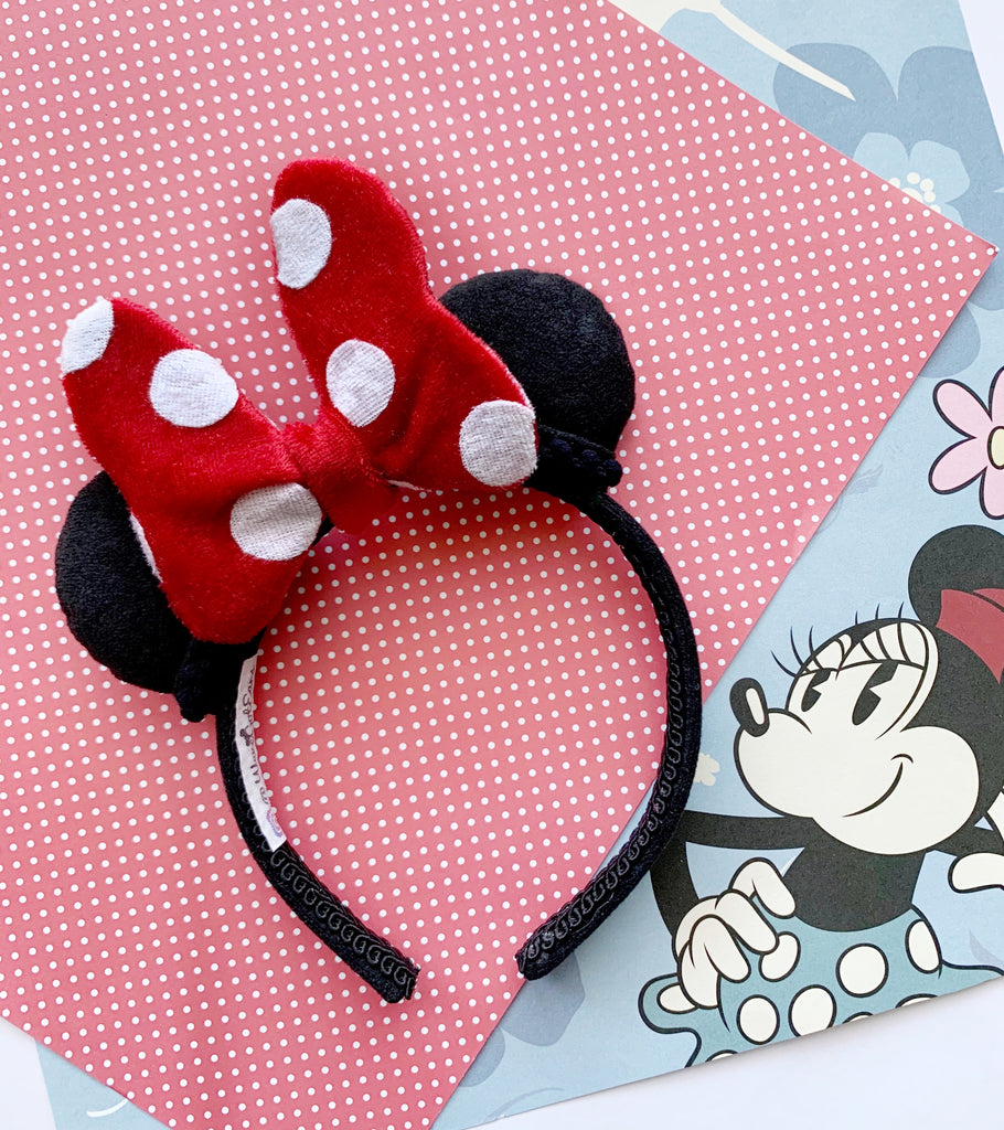 Plush RED DOT Minnie Bow MINI Handmade Ears