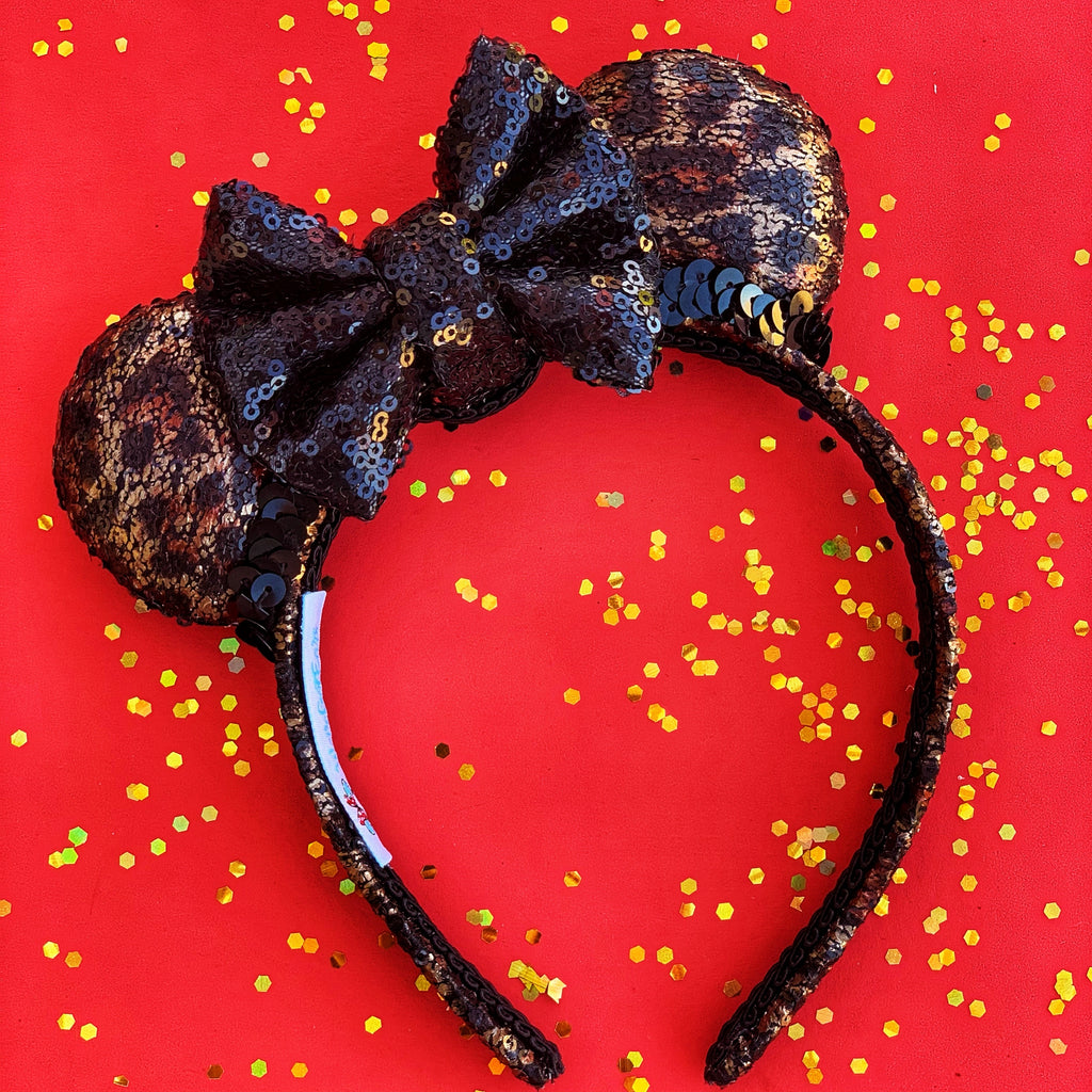 Mini - Leopard Minnie Ears with Black Square Bow