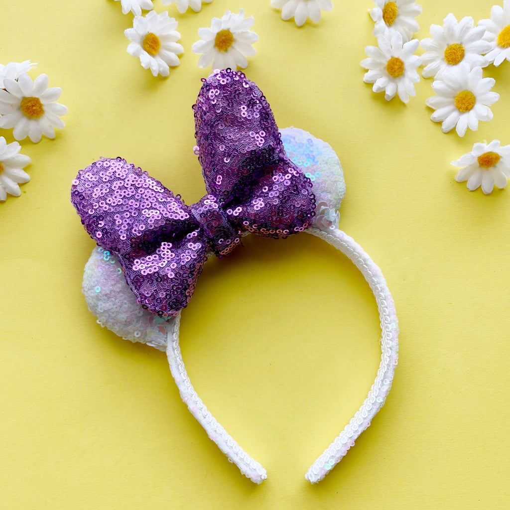 Sequin WHITE Daisy PURPLE Bow MINI Handmade Ears