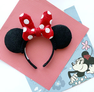 PRE-ORDER Full Size Plush RED DOT Minnie Bow Handmade Ears