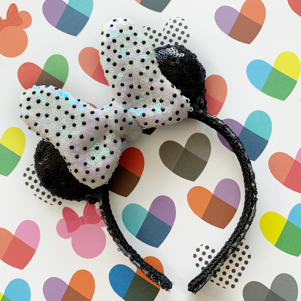 PRE-ORDER Sequin Black Tie Dot Minnie MINI Handmade Ears
