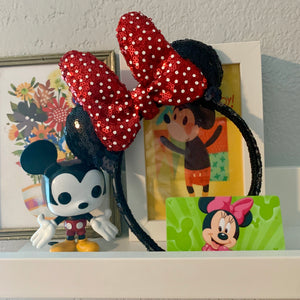 PRE-ORDER Sequin Red Tiny Dot Minnie MINI Handmade Ears