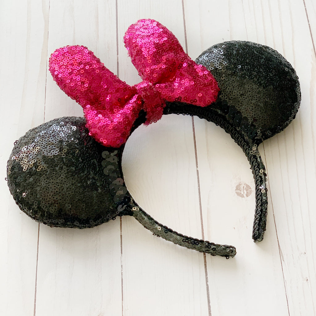 FULL SIZE Sequin HOT PINK Minnie Bow Handmade Ears