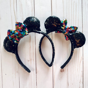 Black with Multi Glitz Bow Mini Minnie Ears