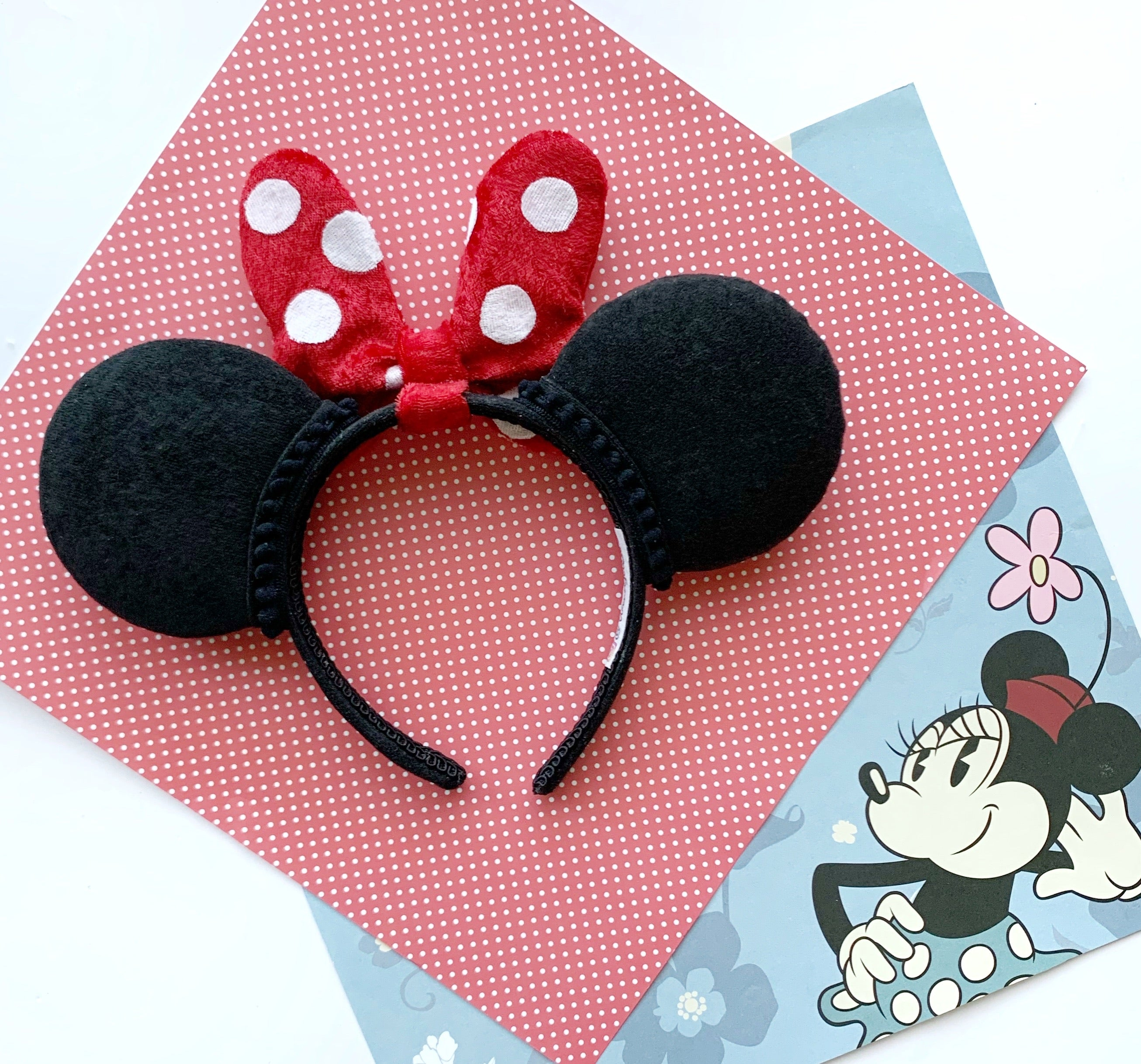 FULL SIZE Plush RED DOT Minnie Bow Handmade Ears