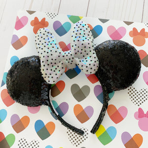 Sequin Black Tie Dot Minnie FULL SIZE Handmade Ears