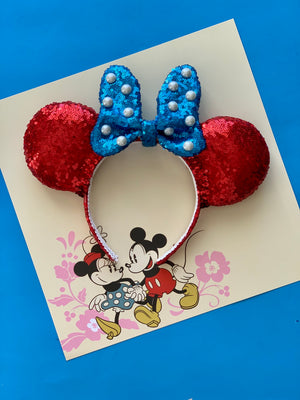 PRE-ORDER Sequin Fancy Dot Bow Vintage Minnie FULL SIZE Handmade Ears