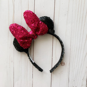 Sequin HOT PINK Minnie Bow MINI Handmade Ears