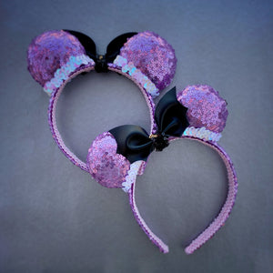 Mini Pastel Lavender Sequin Ears with Bat Bow