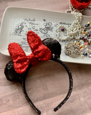 Sequin RED Minnie Bow MINI Handmade Ears