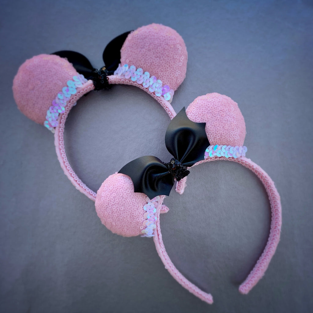 Mini Pastel Pink Sequin Ears with Bat Bow