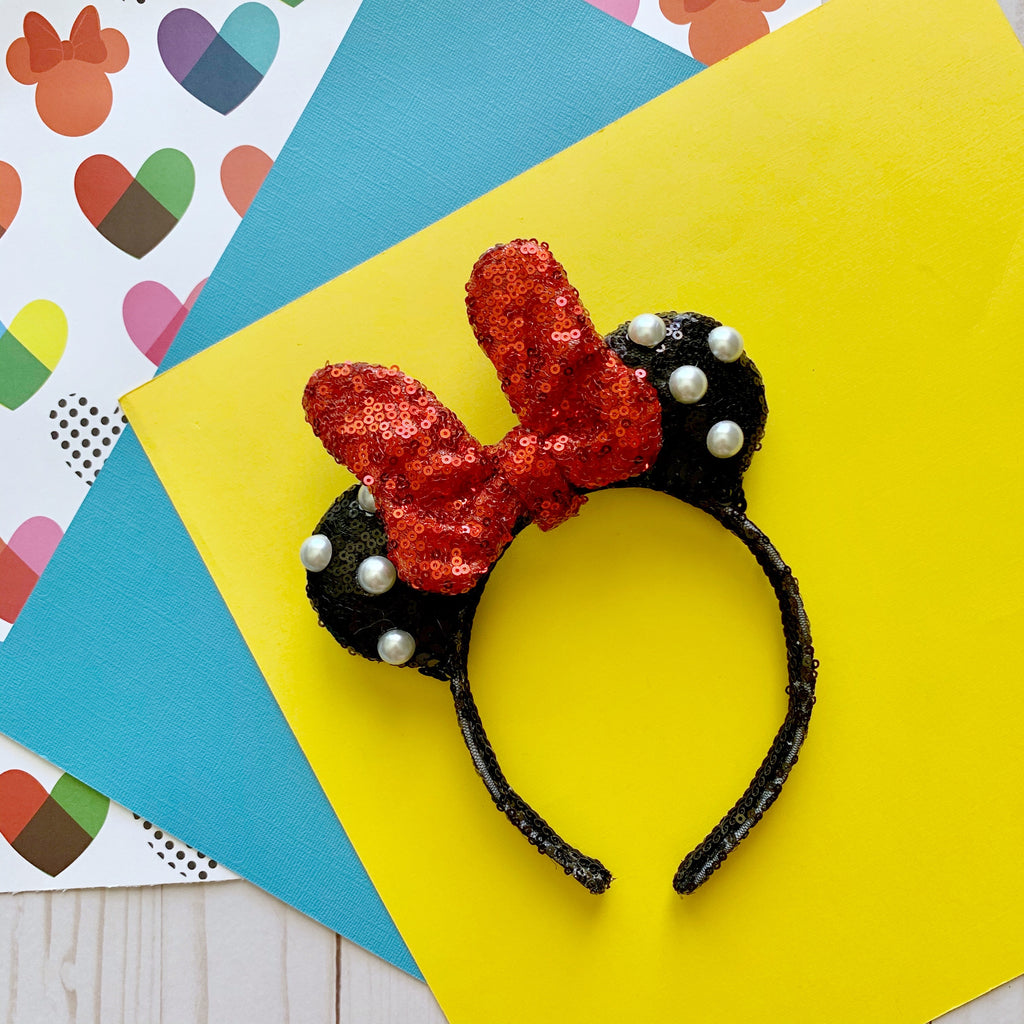 PRE-ORDER Black Sequin Fancy Dot Red Bow Minnie MINI Handmade Ears
